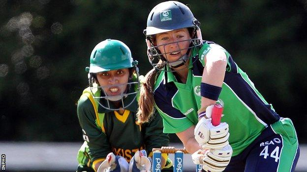 Cecelia Joyce (right) top-scored for Ireland in the warm-up defeat by Sri Lanka