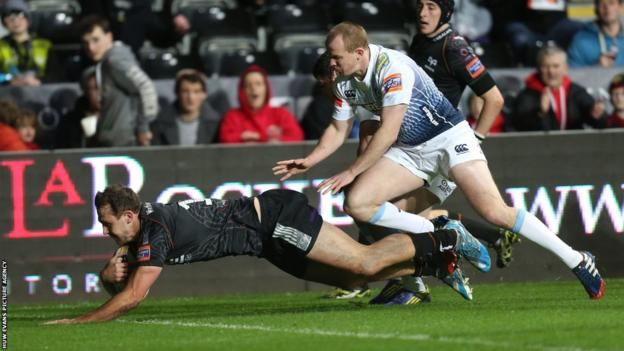 Ospreys Ashley Beck dives in to score for Ospreys against Cardiff Blues at Liberty Stadium in the Pro12