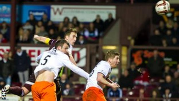 Danny Wilson scores for Hearts against Dundee United