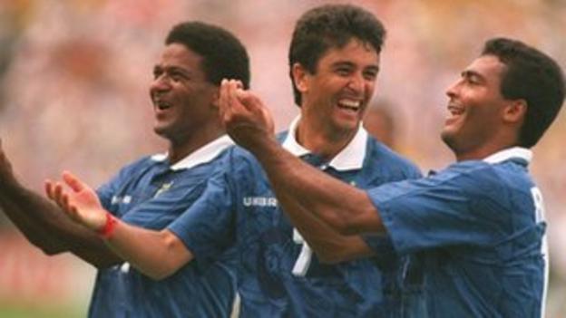 Brazil's Bebeto and Romario celebrate against Netherlands