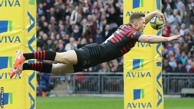 Chris Ashton swallow dive opens Saracens scoring