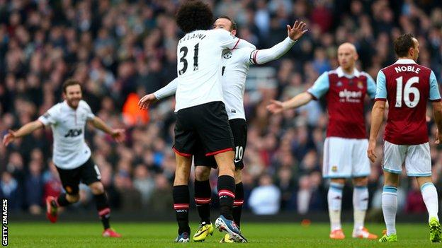 Manchester United striker Wayne Rooney celebrates scoring against West Ham United