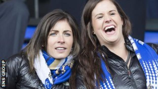 St Johnstone were cheered on by Olympic curling stars Eve Muirhead and Vicki Adams