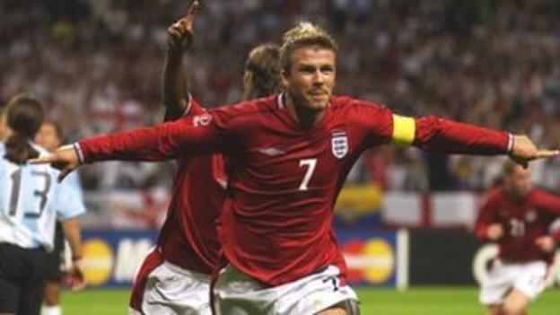 David Beckham celebrates after scoring a penalty for England against Argentina