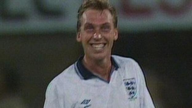 David Platt celebrates after scoring for England against Belgium
