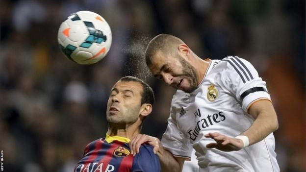 Karim Benzema heads the ball