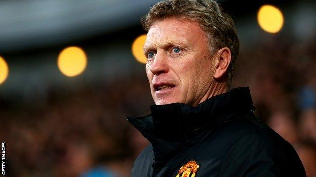 Manager David Moyes watches Manchester United win at West Ham