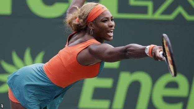 Serena Williams in action at the Sony Open