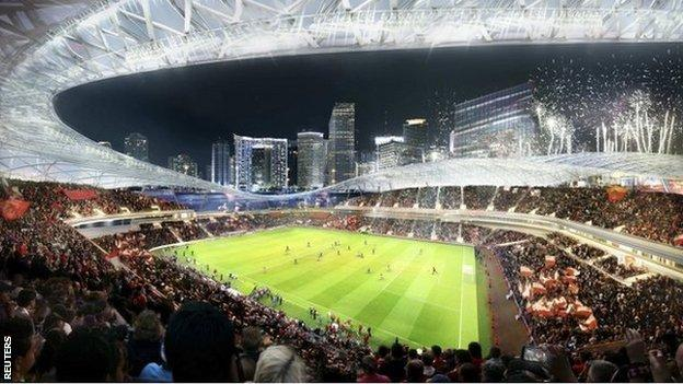 Artist impression of a proposed stadium for David Beckham's MLS team