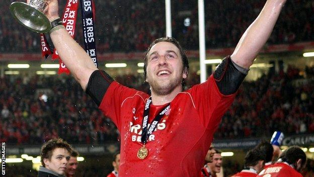Ryan Jones celebrating Wales' Six Nations win