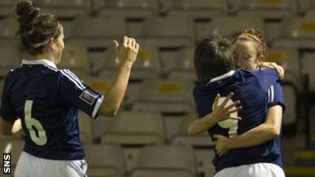 Leanne Crighton (left), Megan Sneddon (centre) and Lisa Evans celebrate Scotland's win over Bosnia-Herzegovina in September