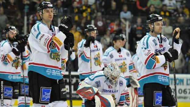 Dejected Belfast Giants players after Tuesday's defeat