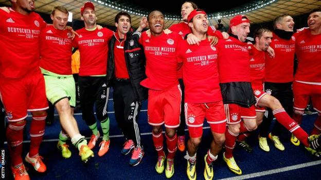 Bayern Munich celebrate the title