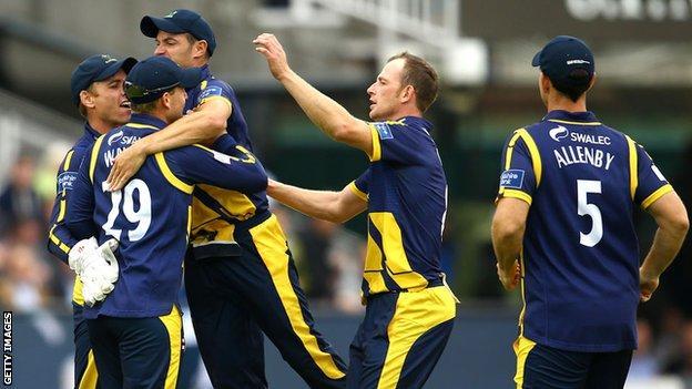 Glamorgan celebrate a wicket