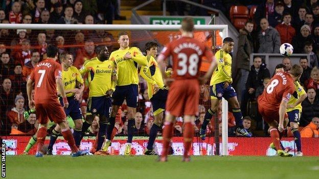 Steven Gerrard fires in the opener from a free-kick