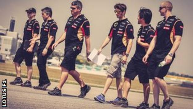 Lotus F1 team in Sepang
