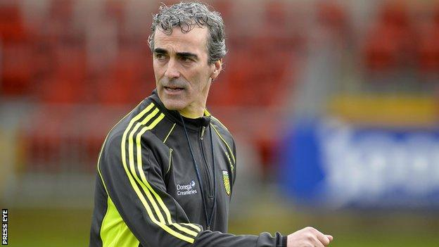 Jim McGuinness watches his team's defeat against Down last time out