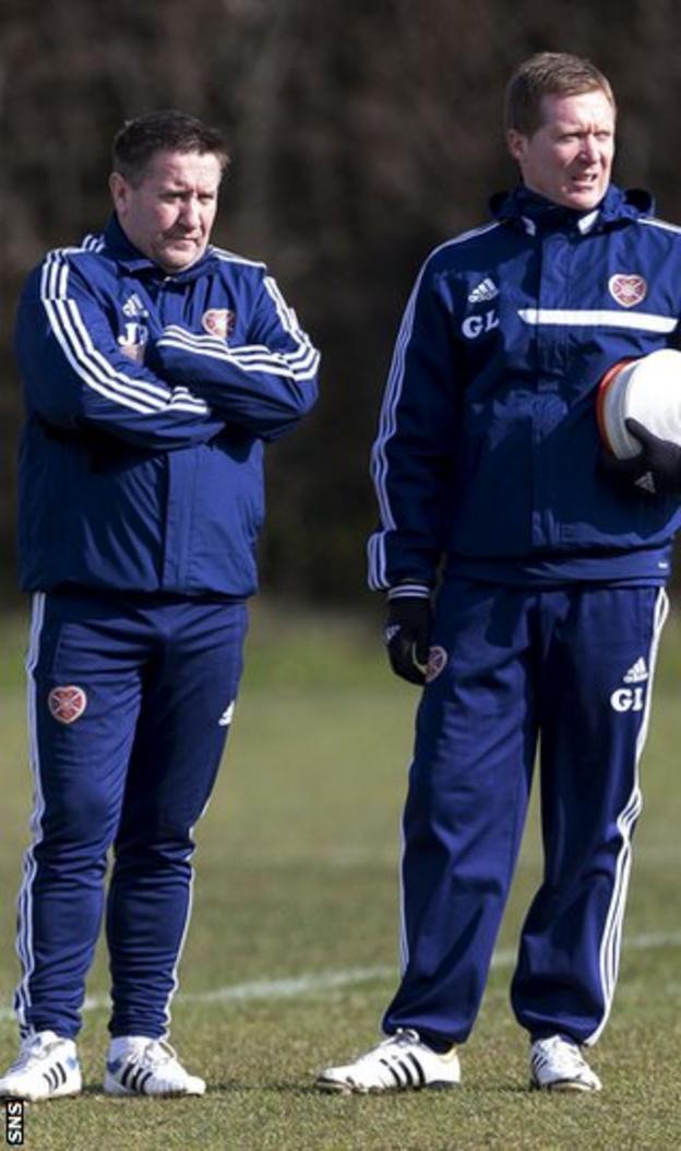 Hearts coach John Robertson and manager Gary Locke
