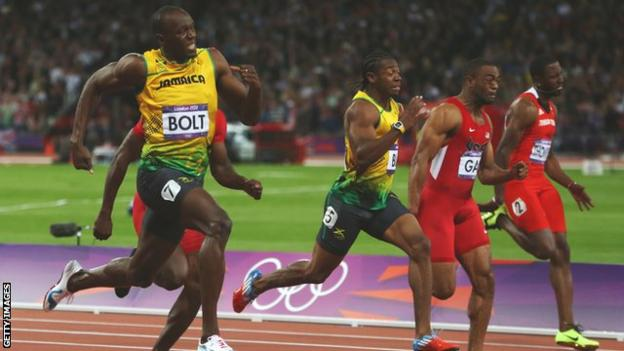 Usain Bolt (left) sprints to victory in the London 2012 Olympics