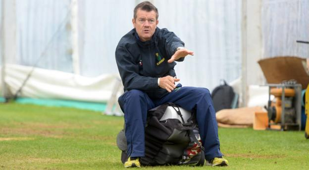 New Glamorgan head coach Toby Radford takes a relaxed approach as he oversees a session in the nets at the Swalec Stadium in Cardiff