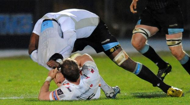 Alun Wyn Jones tangles with Leone Nakarawa during the Ospreys' 11-9 defeat by Glasgow in the Pro12 on Friday evening. The loss means the Welsh region are just one point ahead of the Scots in fourth place in the table