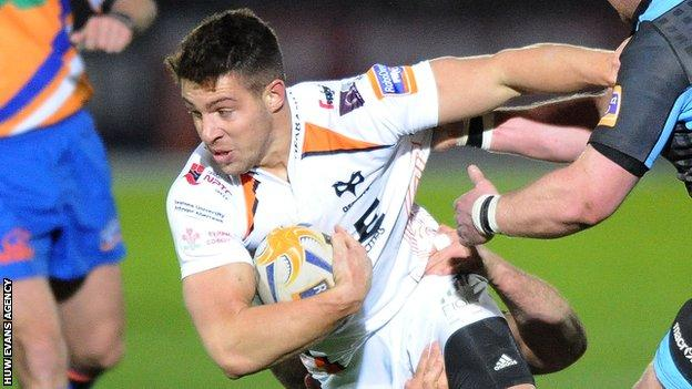 Rhys Webb in action for Ospreys at Glasgow before his injury