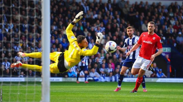 David Marshall produces a spectacular save to prevent James Morrison doubling West Brom's lead against Cardiff