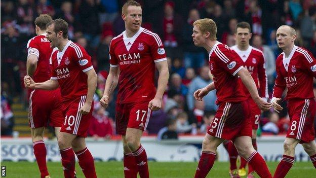 Aberdeen celebrate their equaliser