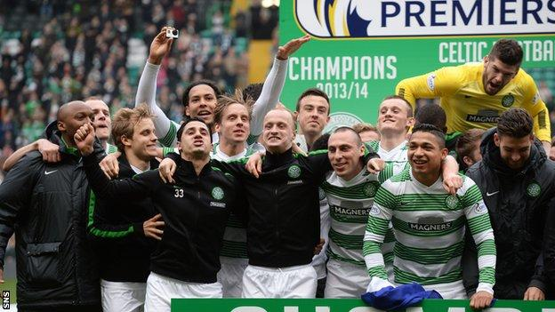 Celtic players on the pitch after the Ross County game