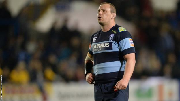 Matthew Rees comes on at hooker for Cardiff Blues following his successful battle against testicular cancer