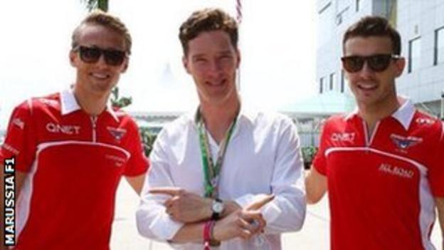 Benedict Cumberbatch meets Marussia at the Malaysian Grand Prix