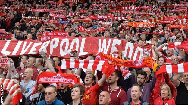 Liverpool fans in the Kop