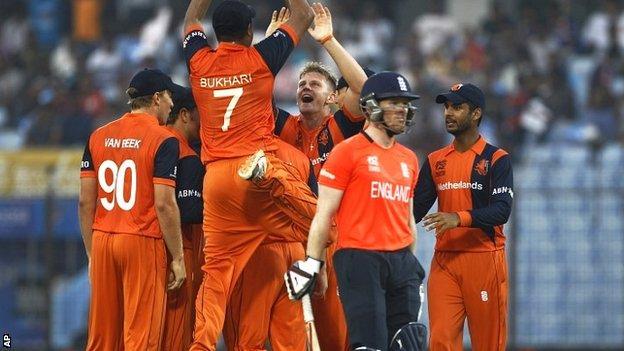 England batsman Eoin Morgan is dismissed