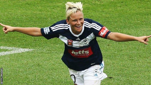 Jess Fishlock celebrates scoring for Melbourne
