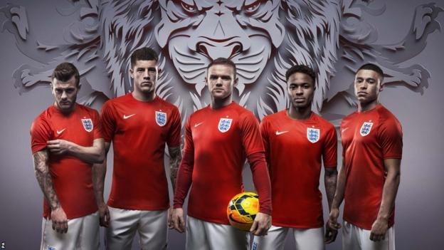 England away kit for World Cup 2014 in Brazil