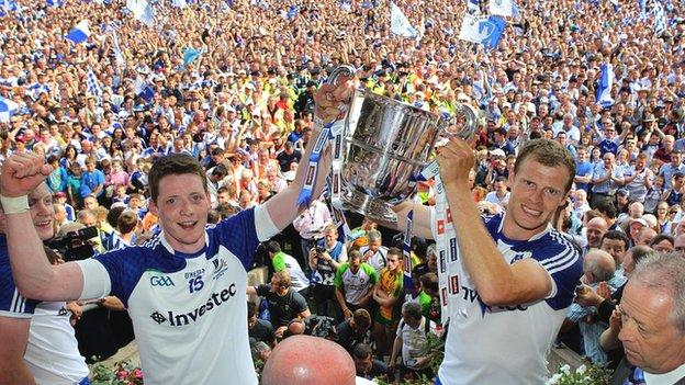 Monaghan pair Conor McManus and Owen Lennon celebrate with the Anglo-Celt Cup last year