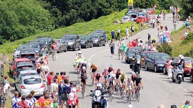 Cyclists tackling the Tumble hill in Monmouthshire