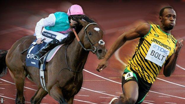 2011 Derby-winning horse Frankel, and 100m world record holder Usain Bolt