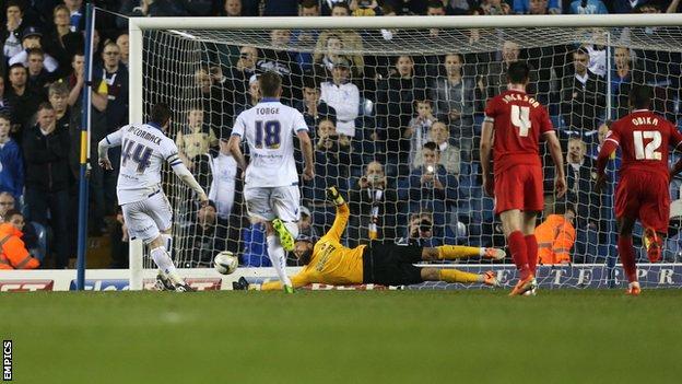 Charlton goalkeeper Ben Hamer (centre) saves Ross McCormack's late penalty