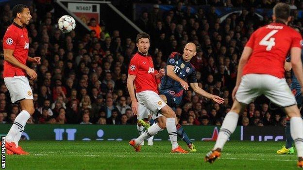 Arjen Robben shoots at goal against Manchester United