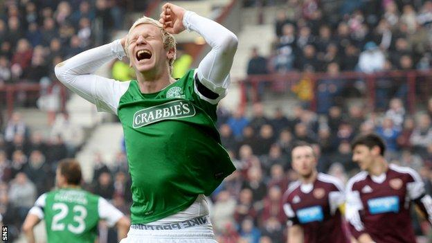 Hibs defender Ryan McGivern shows his disappointment against Hearts