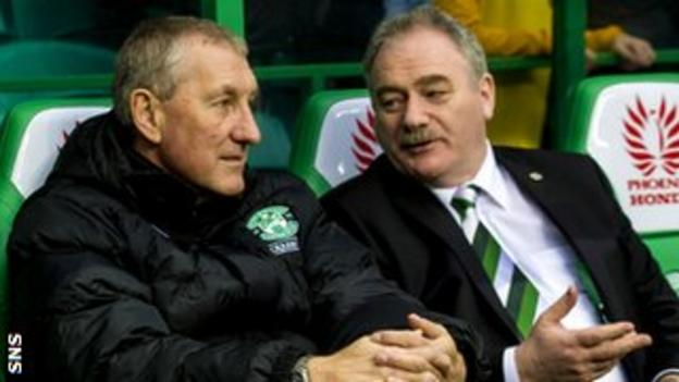 Hibernian manager Terry Butcher and chairman Rod Petrie