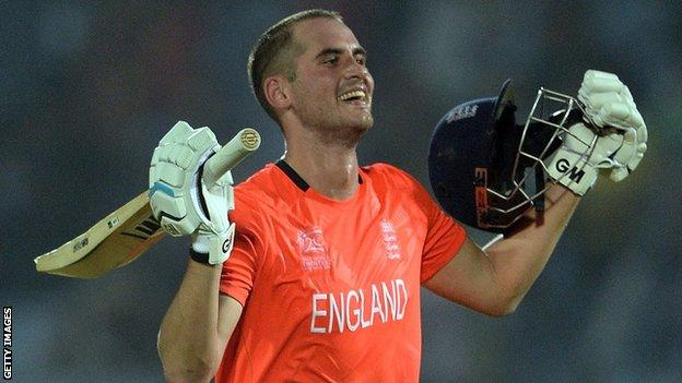 Alex Hales reaches a century for England at the World T20