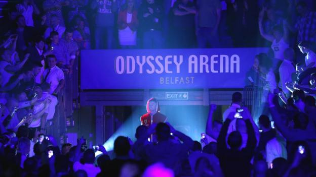 Frampton gets a rousing reception on his stadium entrance for the world title eliminator against Cazares