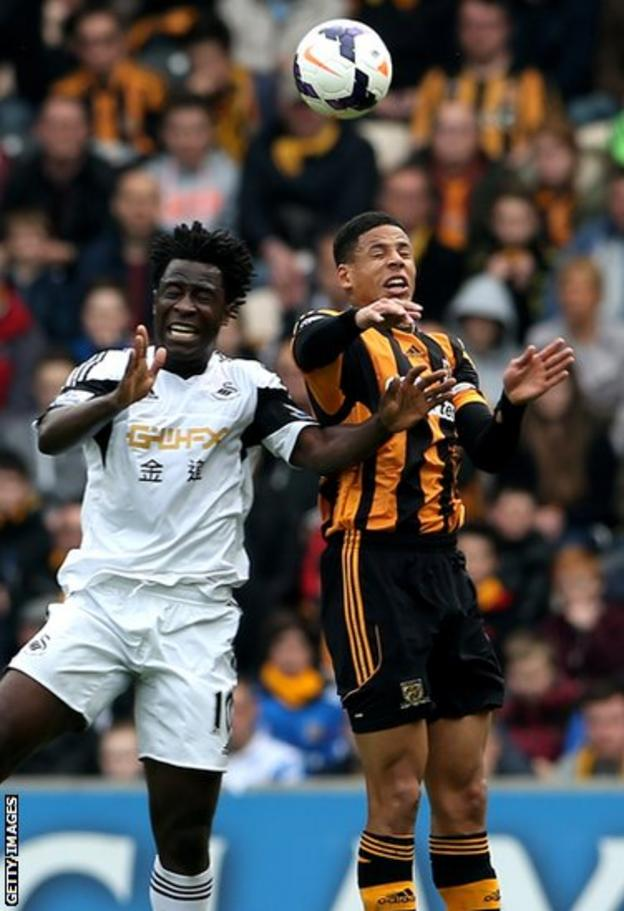 Swansea City striker Wilfried Bony competes for the high ball with Hull City defender Curtis Davies in Saturday's Premier League game at the KC Stadium.