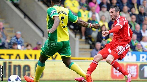 Morgan Amalfitano shoots West Brom into the lead against Norwich