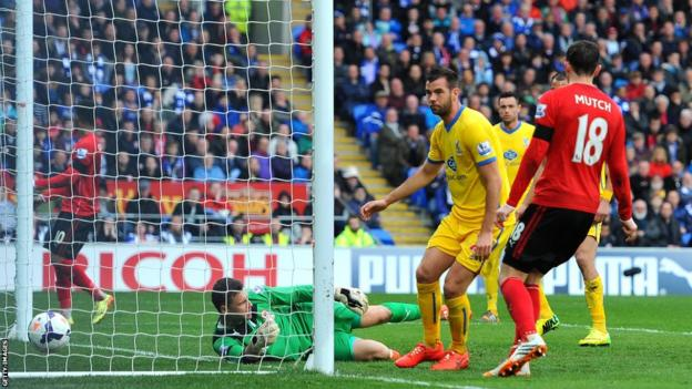 Cardiff-born Joe Ledley scores against his former club to give Palace a 2-0 lead before Puncheon scored a third to plunge the Bluebirds deeper into relegation trouble.