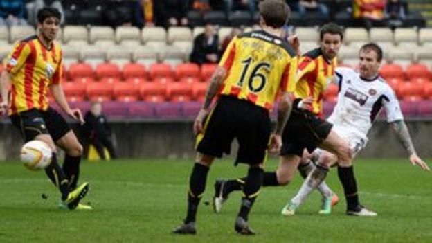 Ryan Stevenson scores for Hearts against Partick Thistle