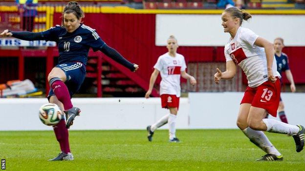 Leanne Crichton scores for Scotland against Poland