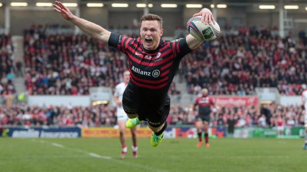 Saracens wing Chris Ashton produces his trademark 'Ash Splash' after scoring the opening try at Ravenhill